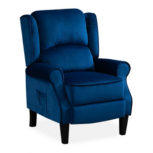 Blue Plush Velvet Recliner Armchair, with wood feet